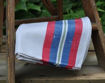 Cotton Linen Vintage Kitchen Towels - Romania - NOS - Set of 4 - Red Blue Green Strip on White - Vintage Kitchen - Linen Tea Towels