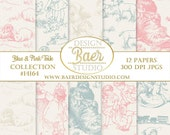 50% off:PINK TOILE Digital PAPER, Blue Toile Digital Papier, Toile Burlap Digital Paper, Pink and Blue Toile Digital Paper, #14164