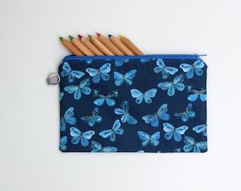Butterfly Pencil Case - Zip Pouch Pencil Case - Storage Bag - Makeup Bag Organiser - Royal Navy Blue