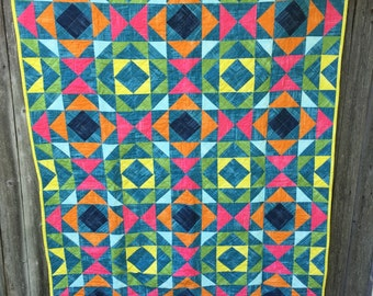 Bright Modern Throw Quilt // In Stock, READY TO SHIP