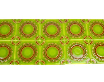 "Vintage Villeroy & Boch Tiles // 1960s Lot of 10 Bright Lime Green 4-1/4"" Square Kitchen Bath Tile // Made in Mettlach, Germany"