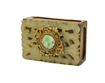 Vintage Chinese Jade & Quartz Match Box Cover Striker Box // Etched Brass, Filigree, and Carved Stone Match Safe