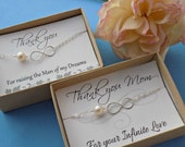 Mother of the bride and mother of the groom bracelet gift set, STERLING SILVER, infinity bracelets, cultured freshwater pearl, adjustable