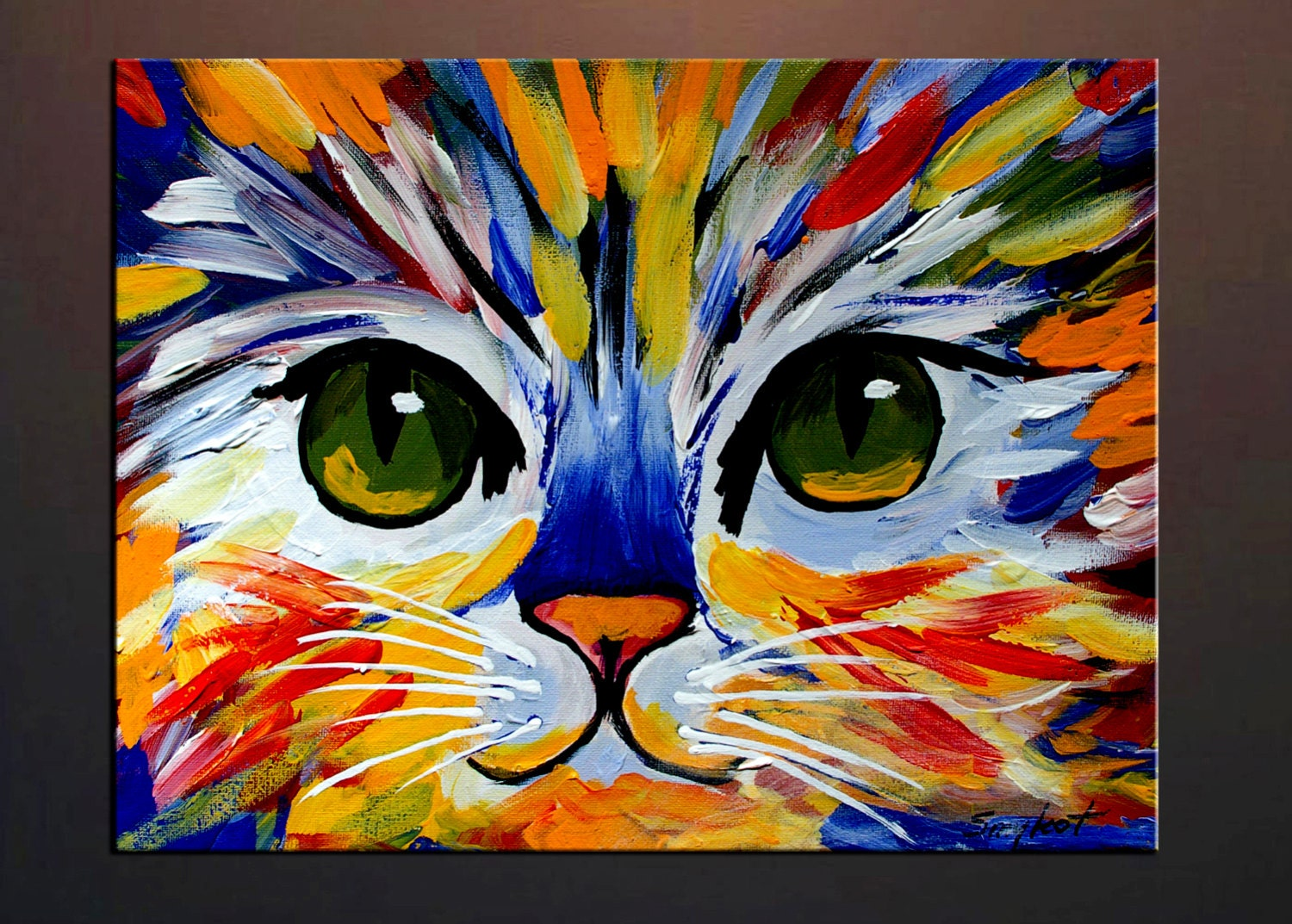 Colorful kitty abstract cat print from my original oil for Cat paintings on canvas