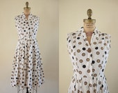 Vintage 1960s Coin Flip Dress / 60s polka dot party dress / Small S