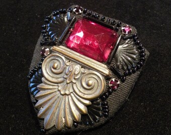 Faux Ruby brooch, diamantes, black beads - gothic architecural design - real costume jewellery
