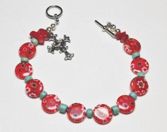 Red Floral Decade Bracelet