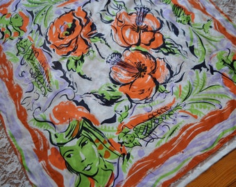 Green Women Scarf/Vintage 1960s/Large Square Silk Scarf Of Green Women and Orange Flowers
