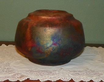 Raku Pottery Stoneware VASE BOWL tall Matte firey colors Copper Orange Reds