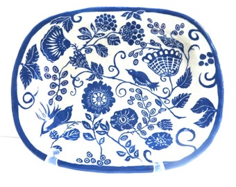 Handmade Oval Serving PLATTER with Folk Art FLORAL Pattern and Bird, SGRAFFITO Carved Pottery Garden Flowers