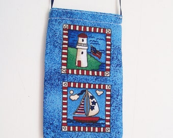 Nautical CELLPHONE POUCH Lighthouse Sailboat Americana House Heart Mini Neck Purse Gadget Bag Android Iphone - Ships free in US