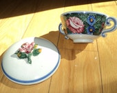 12 Vintage Hand Painted White Glazed Ceramic Individual Sized Soup Bowl with rosebud relief covered lid in Very Good Condition, A Great Gift