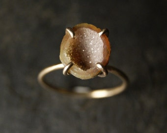 Sugar and Nutmeg Geode Druzy Solitaire Ring in Solid 14K Yellow Gold