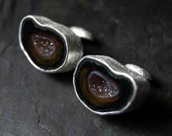 Dark Geode Cufflinks in Sterling Silver