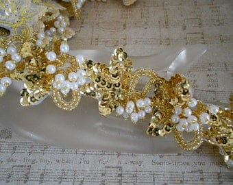 Gold Sequined Pearl Beaded Trim