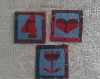 Set of 3 Denim Patches Appliques Sew Notions Trim Projects Crafts