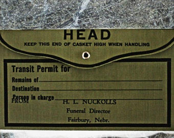 """vintage funeral home """"Transit Permit"""" envelope from Fairbury, NE, Halloween decor, cabinet of curiosities, death, funeral home, mortuary"""