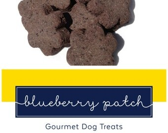 Homemade Gourmet Dog Treats - Blueberry Dog Biscuits Shaped Like Flowers - 8 oz Bag