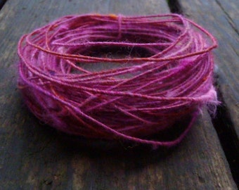 Fiber Wire Core Handspun Art Yarn 24 gauge wire Red Riding Hoods Wolf- Pink n Foxy