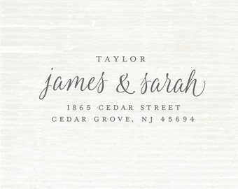 Calligraphy Handwriting Script Custom Return Address Stamp, Personalized Address Stamp, Custom Rubber Stamp, Wedding Stamp
