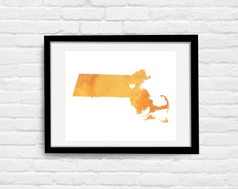Massachusetts or ANY STATE Map - Custom Personalized Heart Print - I Love Boston - Hometown Wall Art Gift Souvenir - Watercolor Series