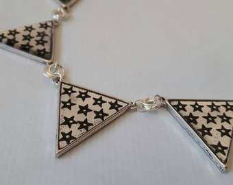 Silver star necklace - star necklace, bunting necklace, stars and stripes, star pendant, resin necklace, resin pendant, star jewellery, flag