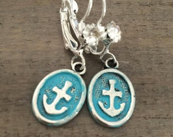 Turquoise Silver Anchor Earrings small resort wear summer accessory