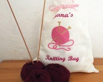 Knitting Project Bag, Yarn Bag, Knitting Club Bag, Knitting Wool Bag, Linen/Cotton Bag
