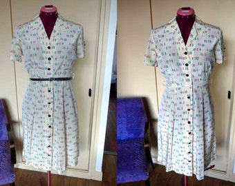 SALE - Absolutely Fabulous 1940's Dress Ivory Silk and Birds on Wire Print, So Cute - Size Xs-S  - As Is