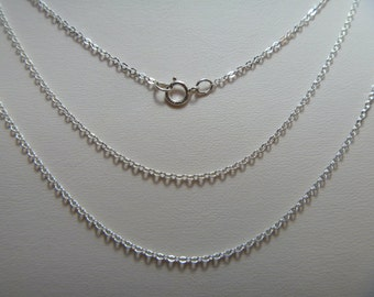 5 pcs Sterling Silver Flat Cable Chain with Spring Ring 18 inches 1.5mm