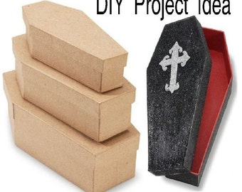 Halloween Paper Mache Nesting Coffins 3 Pieces Ready to Paint
