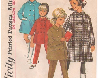 1965 - Simplicity 6154 Vintage Sewing Pattern Girls Size 10 Coat Pants Slacks Lined Double Breasted Kick Pleat Suspenders