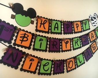 Mickey Mouse Inspired Happy Birthday Banner or Happy Halloween Banner
