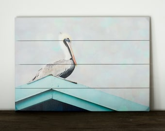 Pelican Wall Art, Modern Coastal Artwork, Wooden Plank Art, Aqua Blue and Grey Picture, Beach House Decor, Seashore Wood Sign, Bathroom Art