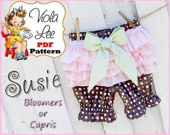Susie, Infant Bloomer Pattern, pdf, Girl's Ruffle Pants Pattern, Toddler Ruffle Pants Pattern, Baby Bloomer Sewing Pattern. Ruffle Bloomer