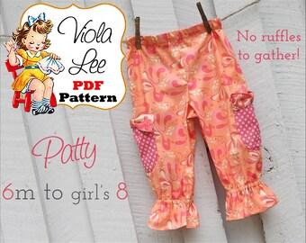 Patty Lee...Girl's Ruffle Pants Pattern, Ruffle Capris Pattern, Girl's Sewing Pattern pdf, Toddler Sewing Pattern, Baby Sewing Pattern pdf