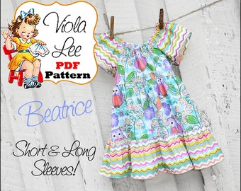 Beatrice Girl's Dress Pattern pdf, Girl's Peasant Dress Pattern. Short & Long Sleeves.Toddler Sewing Pattern, Toddler Dress Pattern. pdf