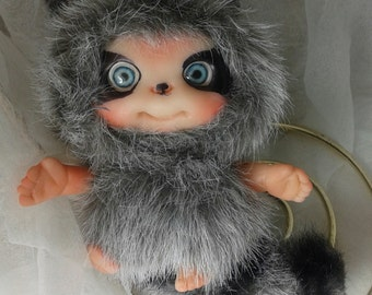 Raccoon Baby Cute Heartwarmer Doll  Decoration for home by Larysa Champagne made by order