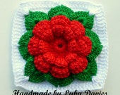 Instant Download Crochet PDF pattern - Rose in square