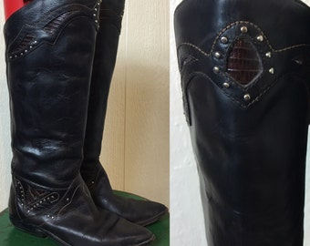 Vintage 80's Black Leather Knee High Tall Boots Studded Inlaid 6M Circle S Made in Brazil