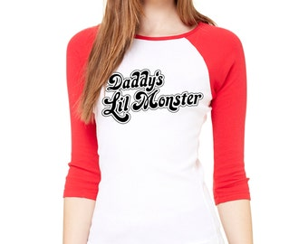 "Suicide Squad ""Daddy's Lil Monster"" Tshirt Harley Quinn Cosplay Suicide Squad Halloween Suicide Squad 3/4 Sleeve top (SLIM FIT)/(UNISEX Fit)"
