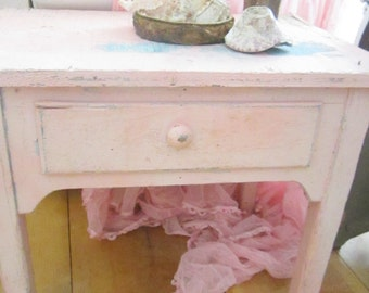 Shabby pink  table with drawer chippy painted  farmhouse prairie