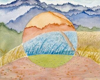 Colorful California Landscape Art Print