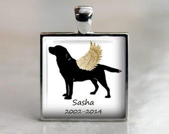 Labrador Retriever Dog Memorial Silhouette Pendant Necklace or Keychain