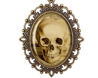 Anatomy Deadly Vintage Inspired Sepia Skull Horror Jewelry Victorian Cameo Bronze Silver Necklace Jewellery