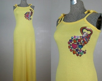 25% Off Summer Sale.... Vintage 1970s Yellow Dress 70s 80s Yellow Cotton Knit Maxi with Rainbow Heart Decal Size S/M