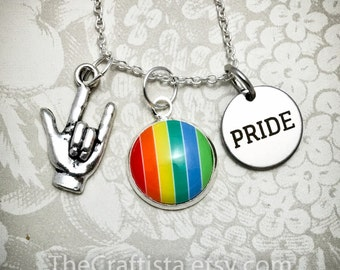 Lesbian Necklace, Rainbow Necklace, Gay Pride, LGBT Necklace, Lesbian Charm, Gay Charm, Rainbow Charm, Gay Necklace, LGBT Pride, Lesbian