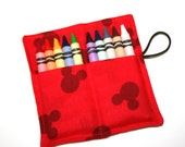 FAST SHIP! Crayon Rolls made from Mickey Mouse Ears fabric, holds 8 to 10 Crayons, Birthday Party Favors, Ships by Priority Mail