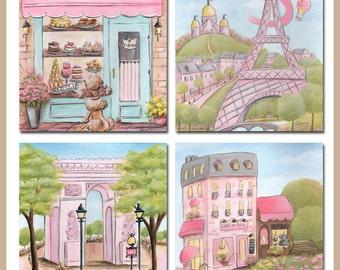 Pink And Black Paris Room Decor, Pink And Black Paris Themed Bedroom, Pink Paris Bedroom Decor, Pink Parisian Bedroom, Set Of 4 Paris Prints