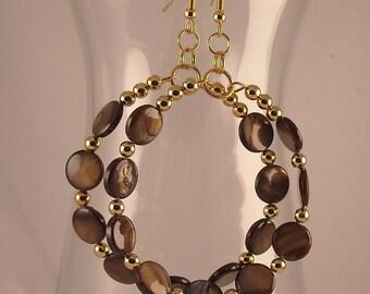 Afrocentric Beaded Hoops with Tigereye Gemstones Gold Spacer Beads Beaded Hoop Earrings